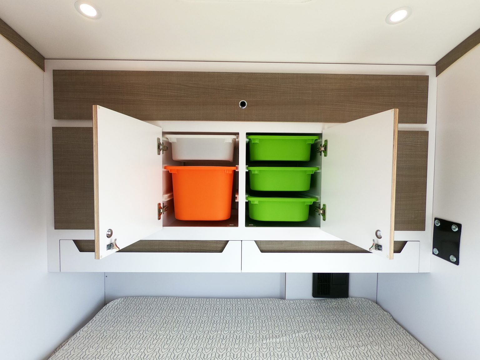 Open cabinet space for storage.