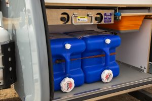Water storage space located at the rear of the trailer.