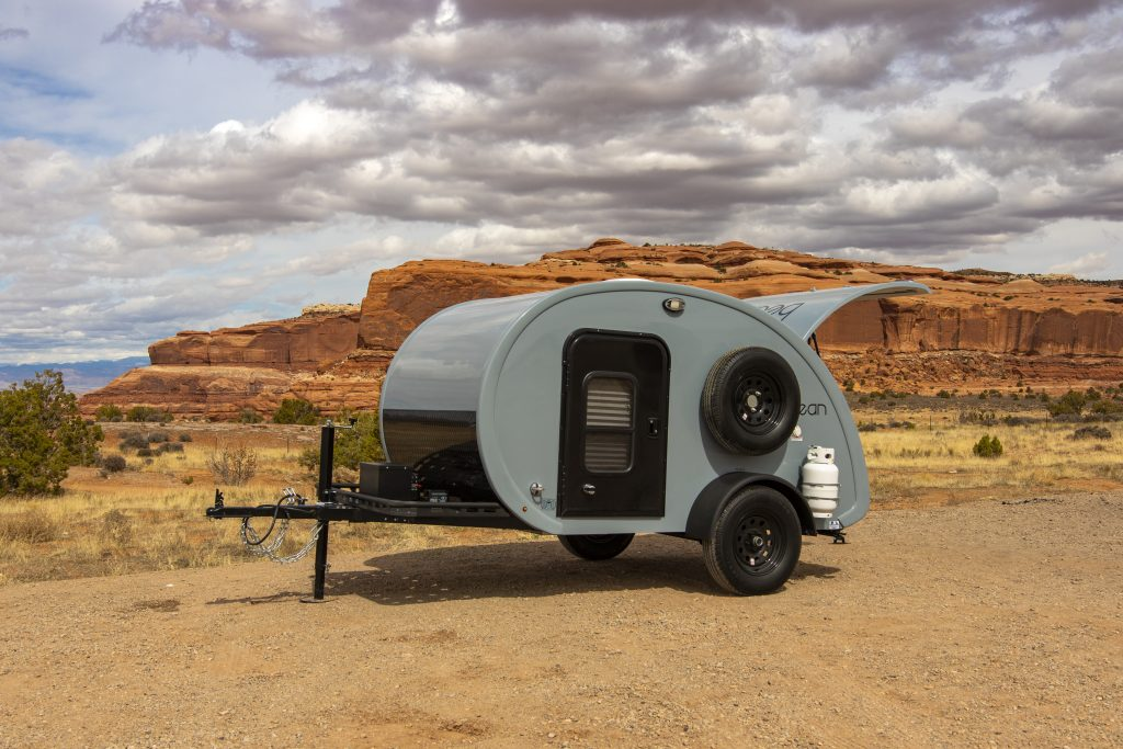 Outside view of Bean custom teardrop trailer.