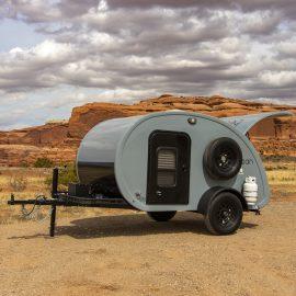 Outside view of Bean custom teardrop trailer.