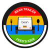 Circle shaped logo with text 'Bean Trailer Feeds Kids' surrounding a Bean Trailer